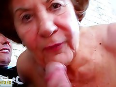 Old and Young, Blowjob, German, Granny