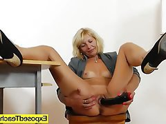 Blonde, Masturbation, MILF, Stockings