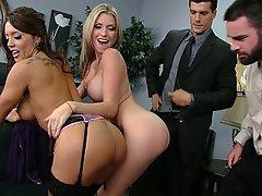 Brünette, Grosse Tits, Vierer, Hardcore