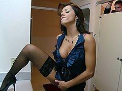 Brunette, Stockings, Big Tits, Lingerie