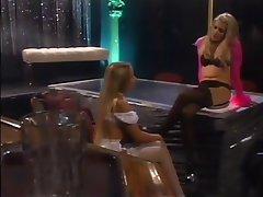 Lesbisch, Blondine, Strumpfhose, Unterwäsche