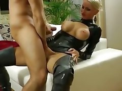 Teen black blonde latex in